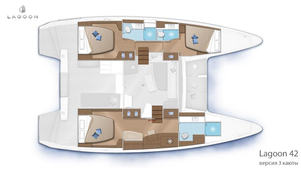 Планировка интерьера Lagoon 42 - версия 3 каюты