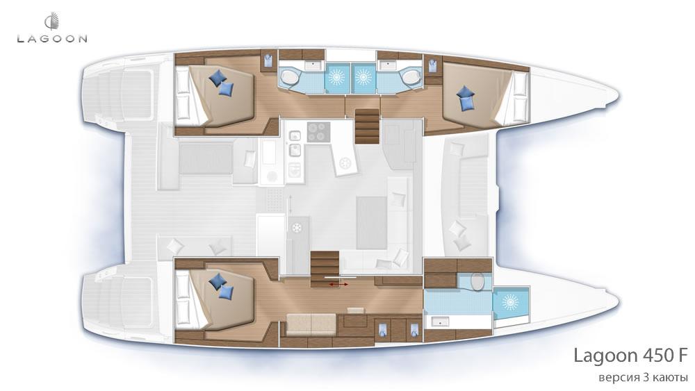 Планировка интерьера Lagoon 450 F - версия 3 каюты