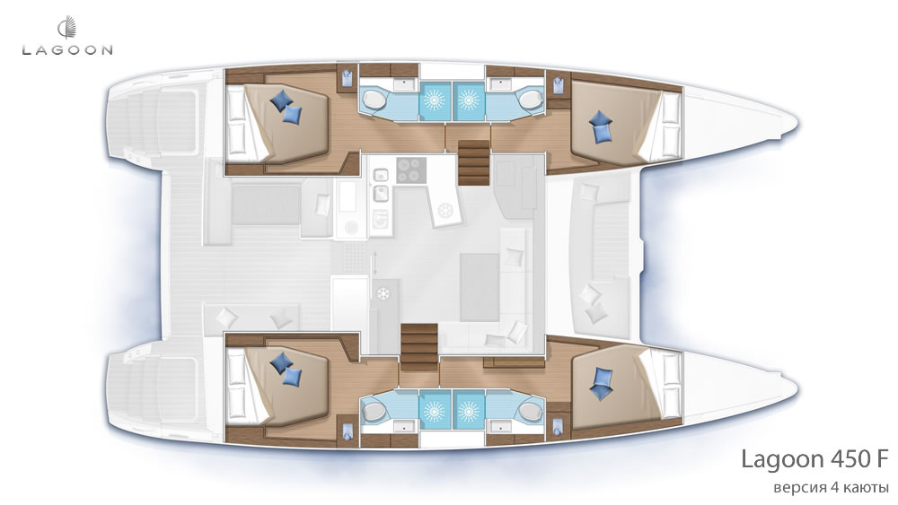 Планировка интерьера Lagoon 450 F - версия 4 каюты