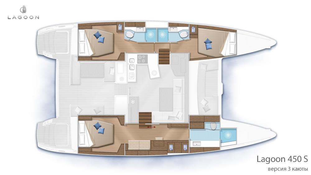 Планировка интерьера Lagoon 450 S - версия 3 каюты