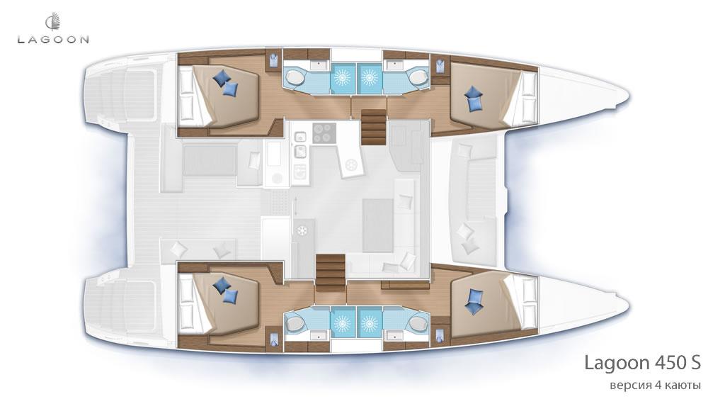Планировка интерьера Lagoon 450 S - версия 4 каюты