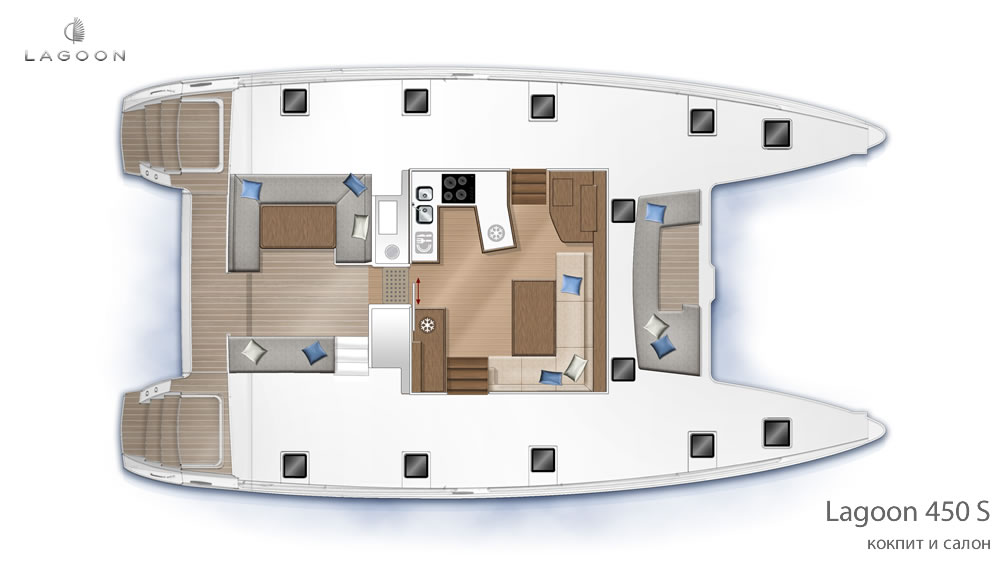 Планировка интерьера Lagoon 450 S - кокпит и салон