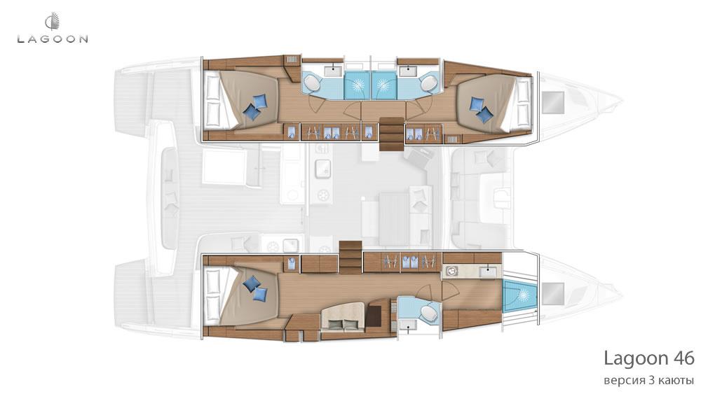Планировка интерьера Lagoon 46 - версия 3 каюты