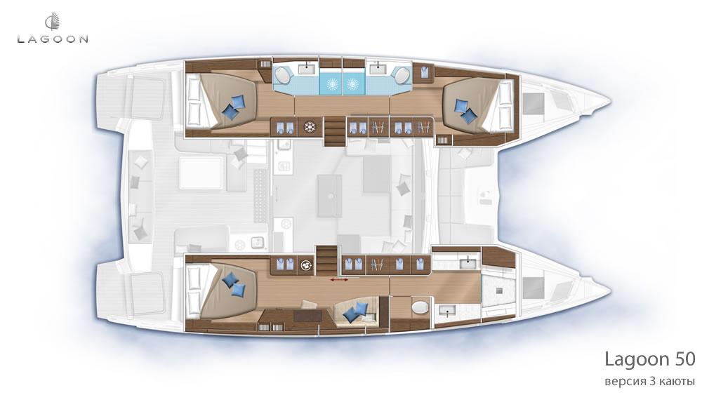 Планировка интерьера Lagoon 50 - версия 3 каюты