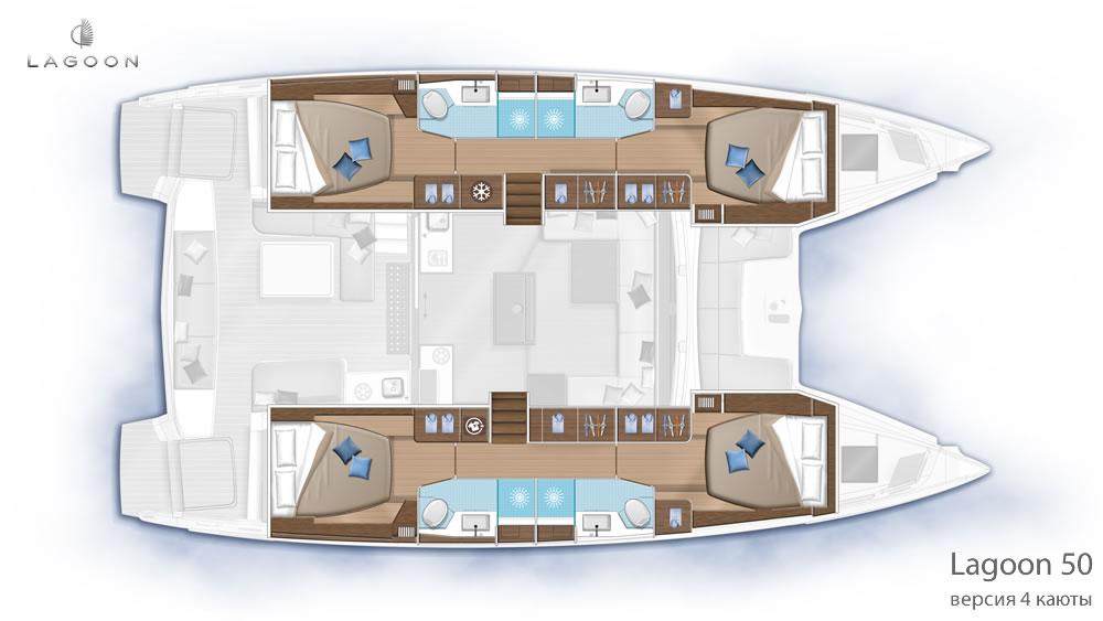 Планировка интерьера Lagoon 50 - версия 4 каюты