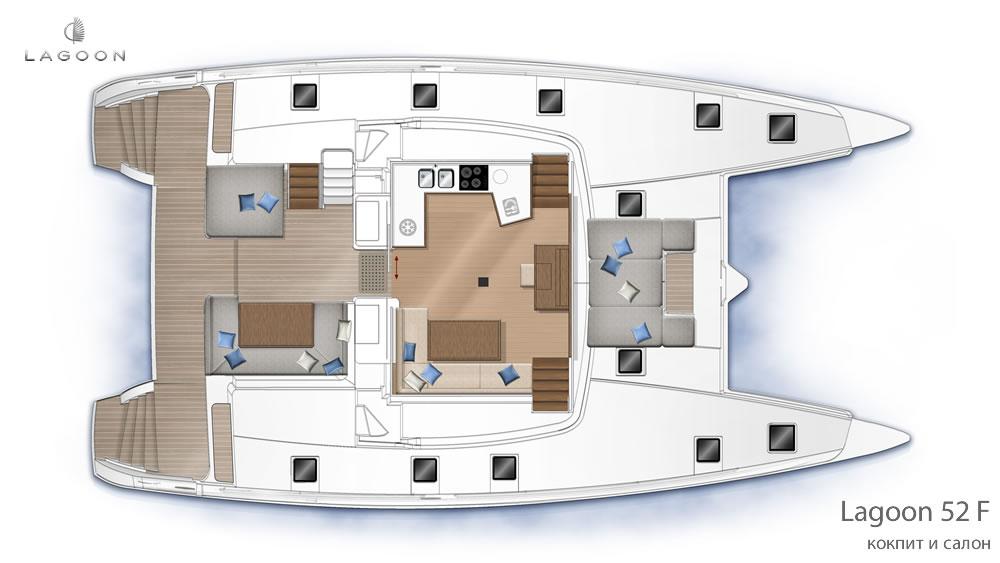 Планировка интерьера Lagoon 52 F - кокпит и салон