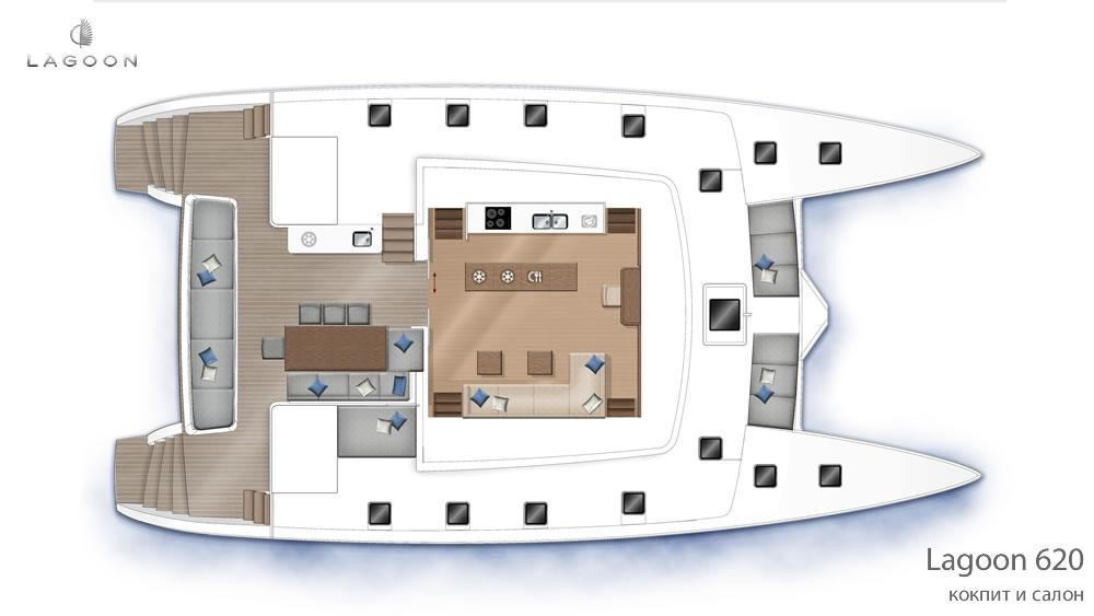 Планировка интерьера Lagoon 620 - кокпит и салон