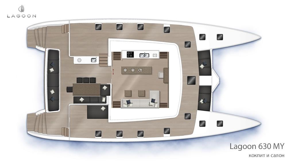 Моторный интерьера Lagoon 630 MY - кокпит и салон