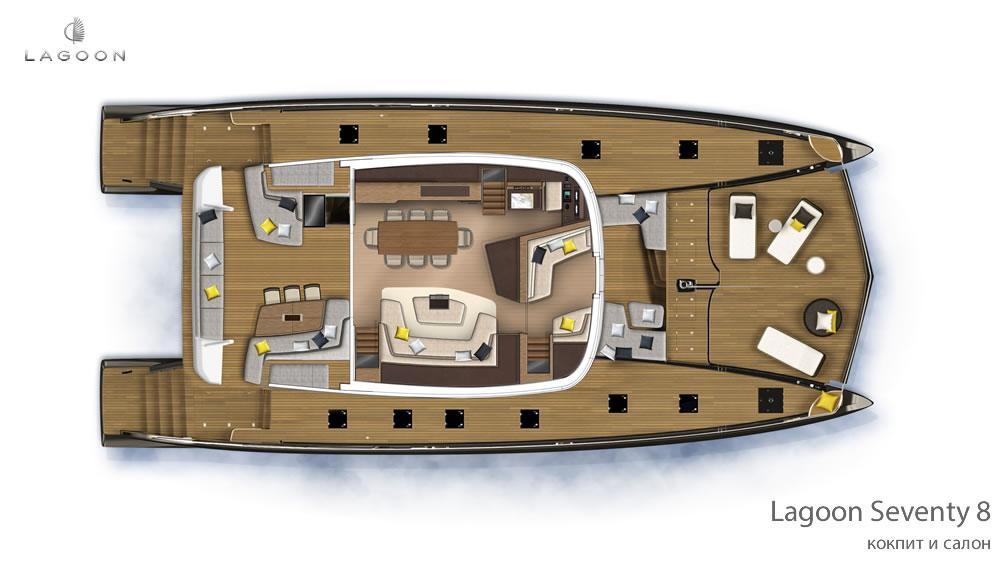 Моторный интерьера Lagoon Seventy 8 - кокпит и салон