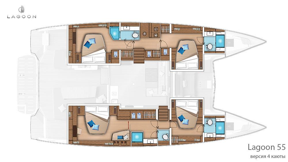Планировка интерьера Lagoon 55 - версия 4 каюты